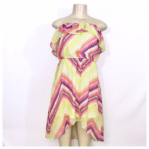 Yellow & Pink Midi Dress Jrs Medium